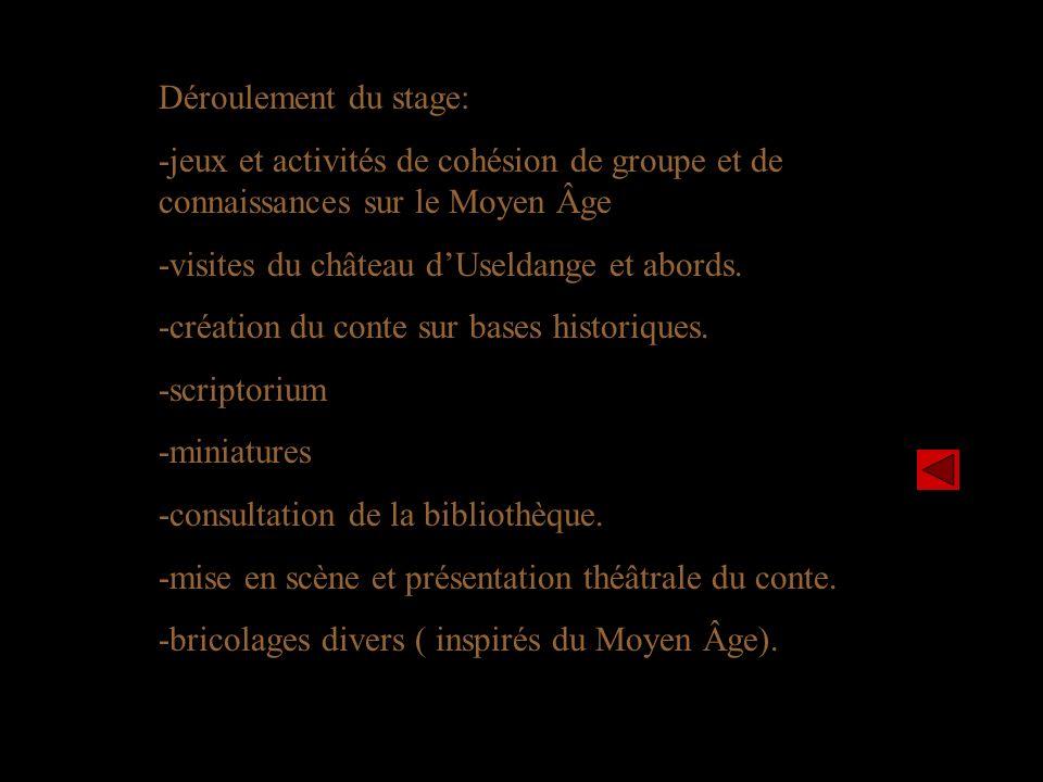 Déroulement du stage: -jeux et activités de cohésion de groupe et de connaissances sur le Moyen Âge -visites du château dUseldange et abords.