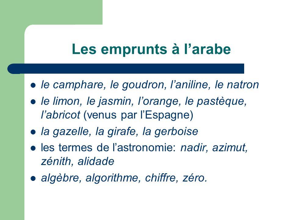 Les emprunts à larabe le camphare, le goudron, laniline, le natron le limon, le jasmin, lorange, le pastèque, labricot (venus par lEspagne) la gazelle
