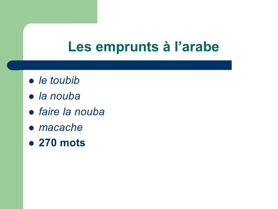 Les emprunts à larabe le toubib la nouba faire la nouba macache 270 mots
