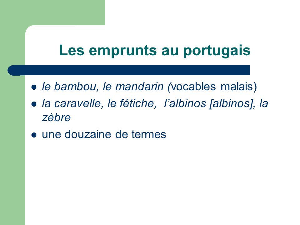 Les emprunts au portugais le bambou, le mandarin (vocables malais) la caravelle, le fétiche, lalbinos [albinos], la zèbre une douzaine de termes