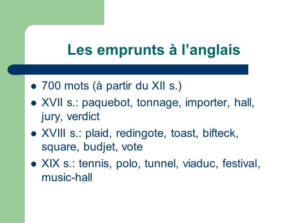 Les emprunts à langlais 700 mots (à partir du XII s.) XVII s.: paquebot, tonnage, importer, hall, jury, verdict XVIII s.: plaid, redingote, toast, bif