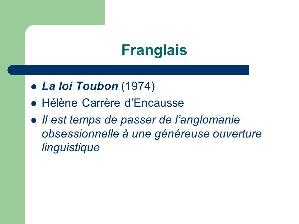 Franglais La loi Toubon (1974) Hélène Carrère dEncausse Il est temps de passer de langlomanie obsessionnelle à une généreuse ouverture linguistique
