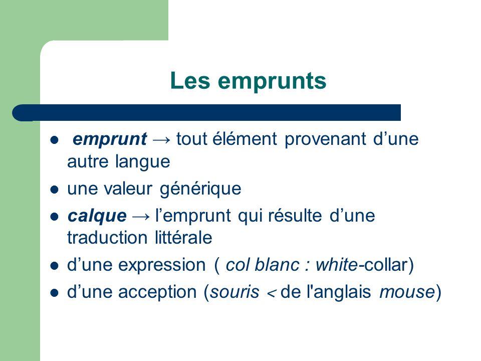 Les emprunts emprunt tout élément provenant dune autre langue une valeur générique calque lemprunt qui résulte dune traduction littérale dune expressi