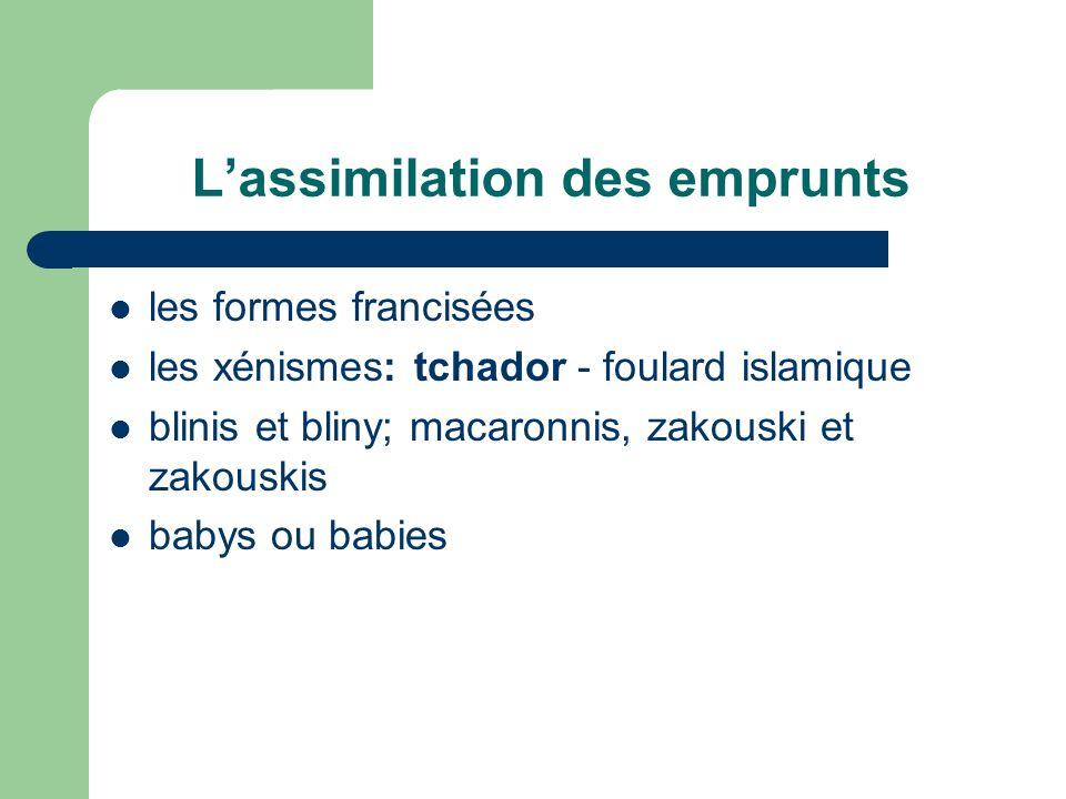 Lassimilation des emprunts les formes francisées les xénismes: tchador - foulard islamique blinis et bliny; macaronnis, zakouski et zakouskis babys ou