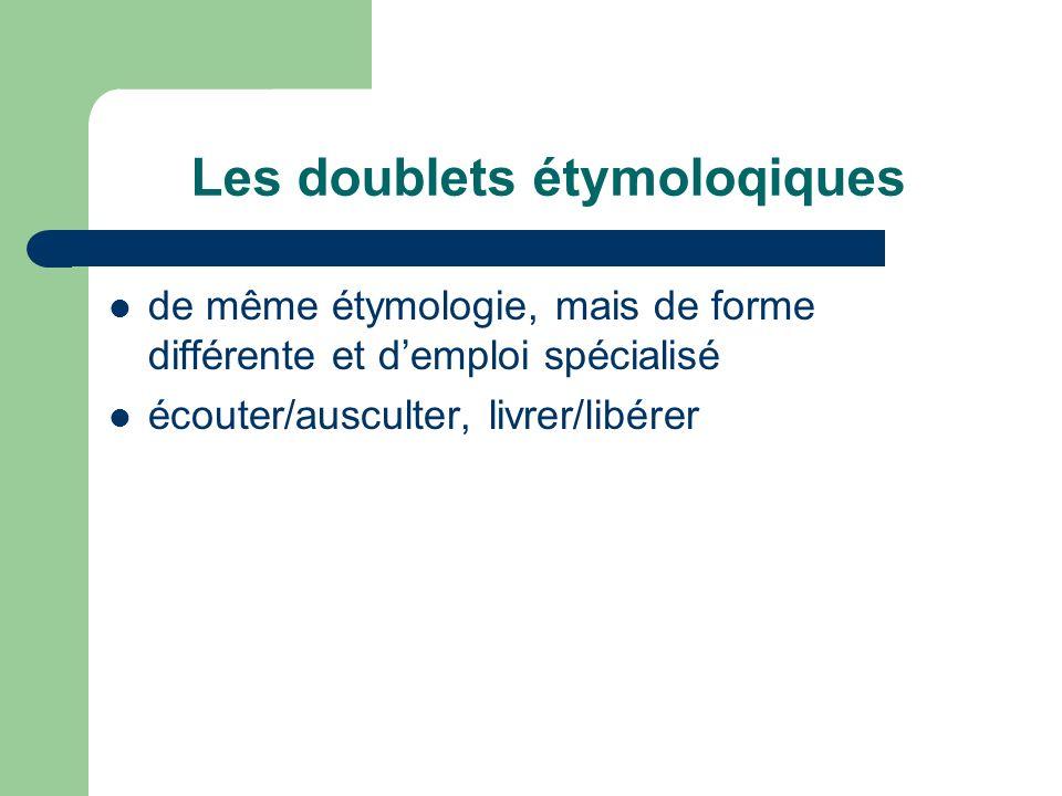 Les doublets étymoloqiques de même étymologie, mais de forme différente et demploi spécialisé écouter/ausculter, livrer/libérer