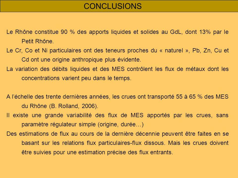 CONCLUSIONS Le Rhône constitue 90 % des apports liquides et solides au GdL, dont 13% par le Petit Rhône. Le Cr, Co et Ni particulaires ont des teneurs