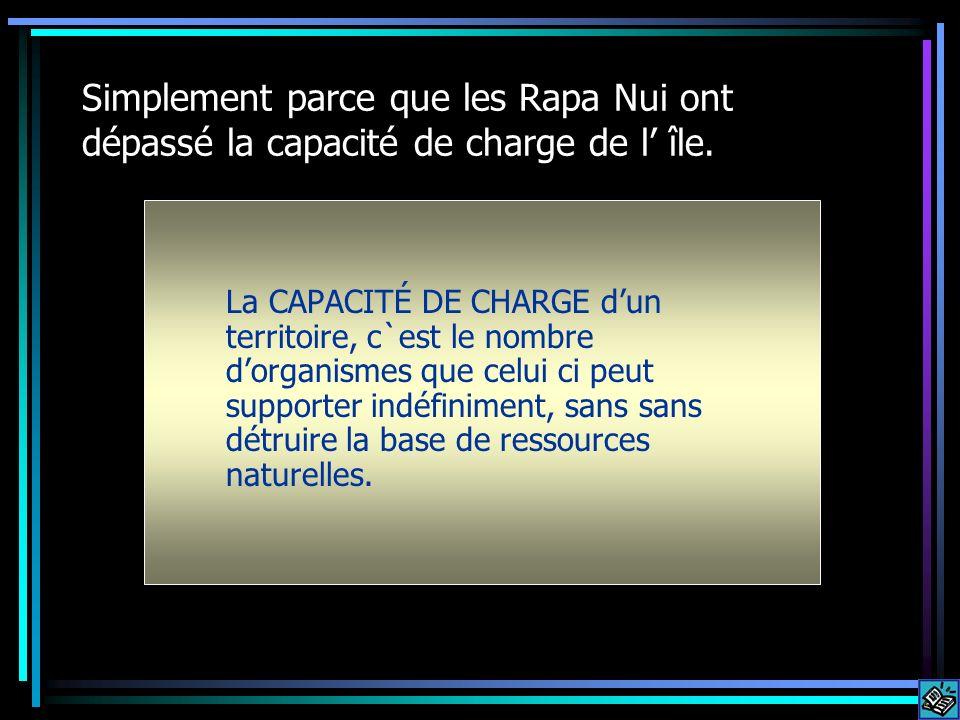 Simplement parce que les Rapa Nui ont dépassé la capacité de charge de l île. La CAPACITÉ DE CHARGE dun territoire, c`est le nombre dorganismes que ce