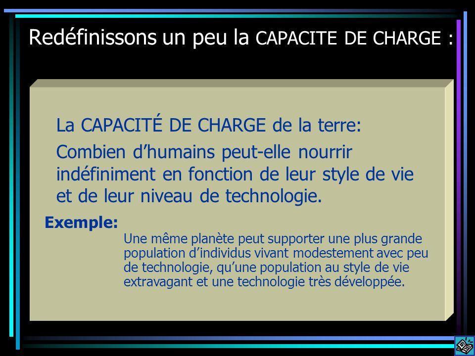 Redéfinissons un peu la CAPACITE DE CHARGE : La CAPACITÉ DE CHARGE de la terre: Combien dhumains peut-elle nourrir indéfiniment en fonction de leur st