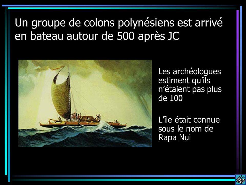Un groupe de colons polynésiens est arrivé en bateau autour de 500 après JC Les archéologues estiment quils nétaient pas plus de 100 Lîle était connue