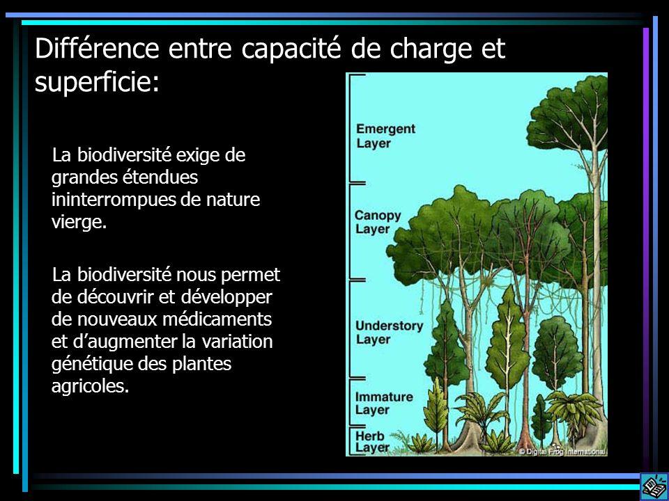 Différence entre capacité de charge et superficie: La biodiversité exige de grandes étendues ininterrompues de nature vierge. La biodiversité nous per