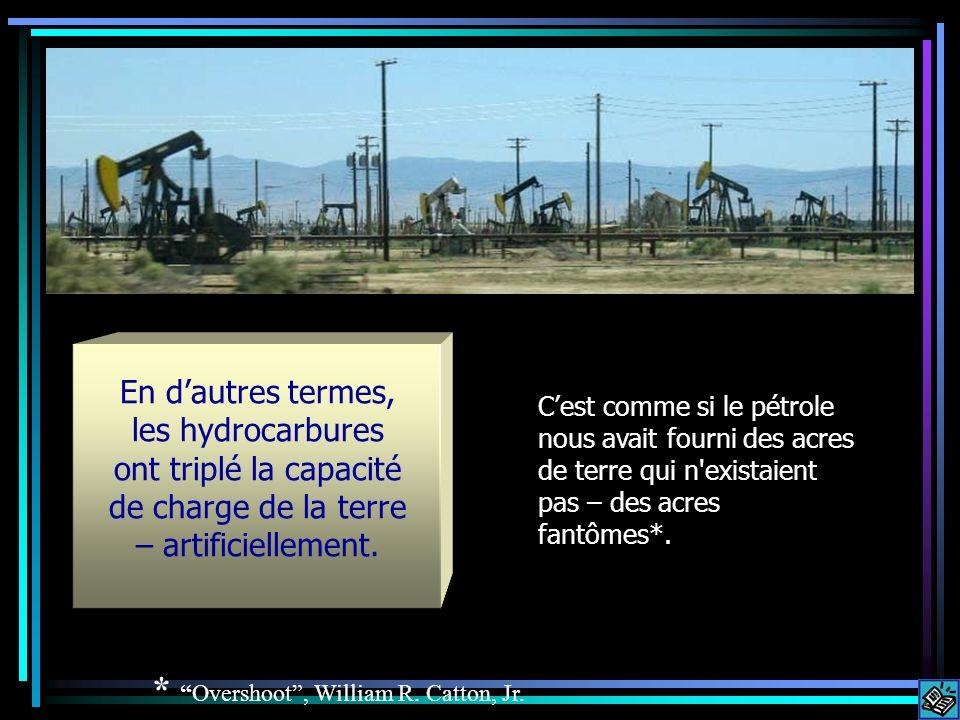 En dautres termes, les hydrocarbures ont triplé la capacité de charge de la terre – artificiellement. Cest comme si le pétrole nous avait fourni des a