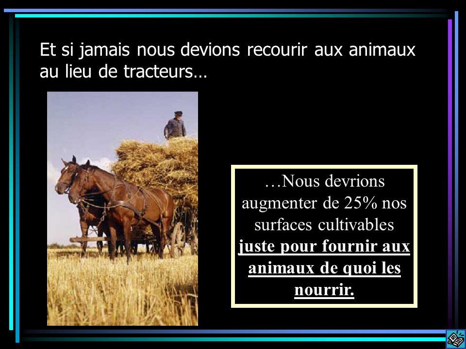 Et si jamais nous devions recourir aux animaux au lieu de tracteurs… …Nous devrions augmenter de 25% nos surfaces cultivables juste pour fournir aux a