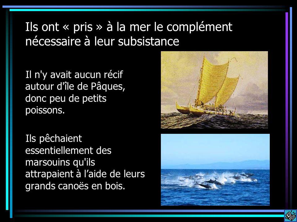 Ils ont « pris » à la mer le complément nécessaire à leur subsistance Il n'y avait aucun récif autour d'île de Pâques, donc peu de petits poissons. Il