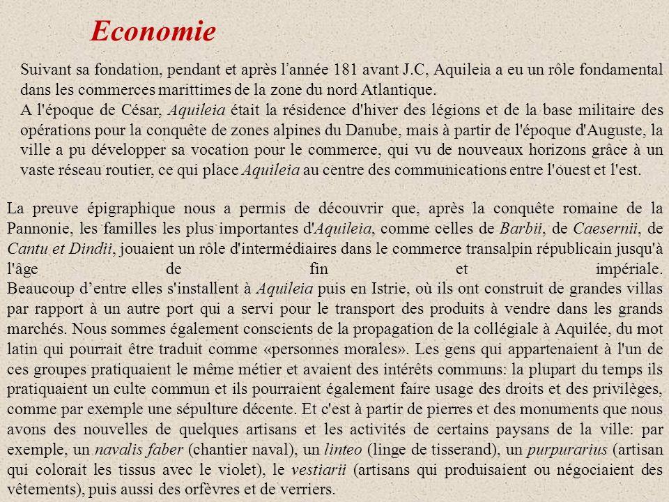 Les commerces L étude des amphores a permis la reconstruction du commerce de certains produits d Aquileia: 1.VIN:vers la vallée du Pô suivant le fleuve 2.