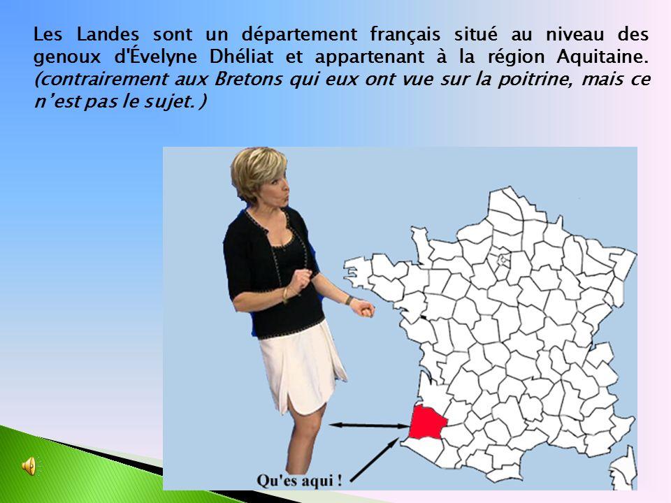 Les Landes sont un département français situé au niveau des genoux d'Évelyne Dhéliat et appartenant à la région Aquitaine. (contrairement aux Bretons