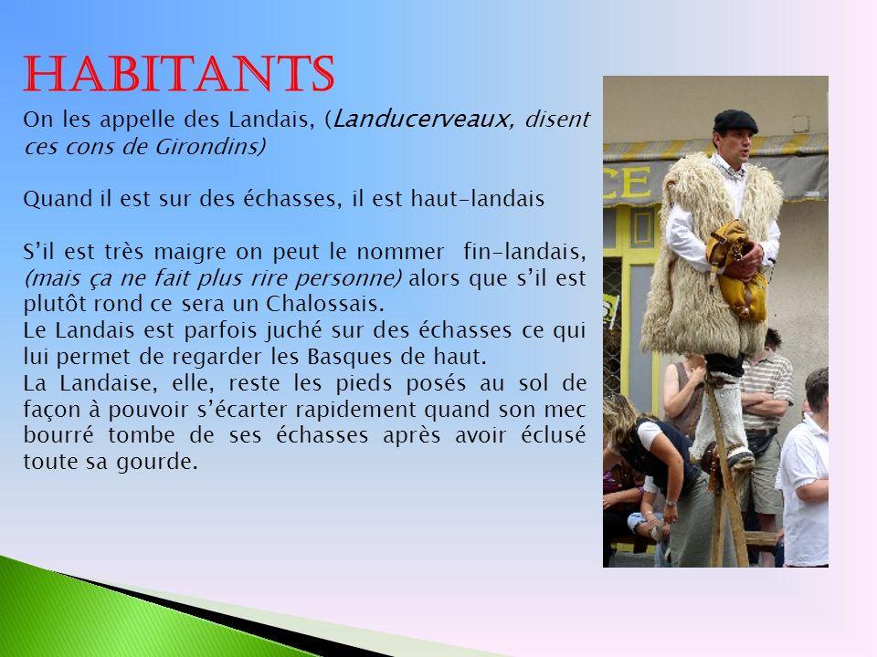 Habitants On les appelle des Landais, ( Landucerveaux, disent ces cons de Girondins) Quand il est sur des échasses, il est haut-landais Sil est très m