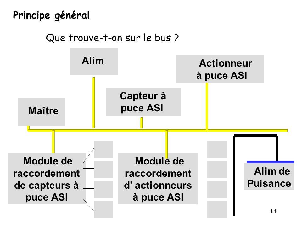 14 Principe général Que trouve-t-on sur le bus ? Maître Alim Capteur à puce ASI Actionneur à puce ASI Module de raccordement d actionneurs à puce ASI