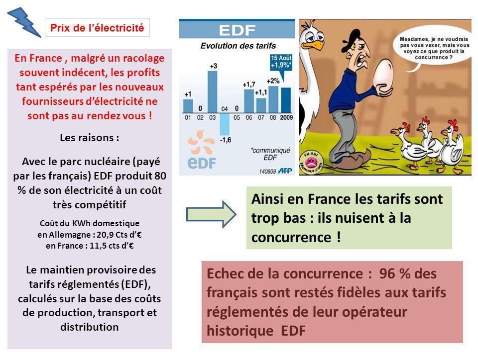 En France, malgré un racolage souvent indécent, les profits tant espérés par les nouveaux fournisseurs délectricité ne sont pas au rendez vous ! Les r