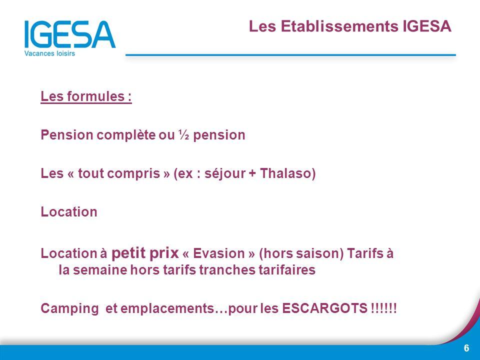 6 Les formules : Pension complète ou ½ pension Les « tout compris » (ex : séjour + Thalaso) Location Location à petit prix « Evasion » (hors saison) T