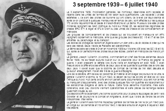 3 septembre 1939 – 6 juillet 1940 Le 3 septembre 1939, mobilisation générale, les nombreux réservistes sont rappelés et répartis dans les unités de la