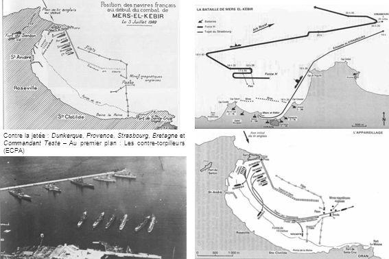 Contre la jetée : Dunkerque, Provence, Strasbourg, Bretagne et Commandant Teste – Au premier plan : Les contre-torpilleurs (ECPA)