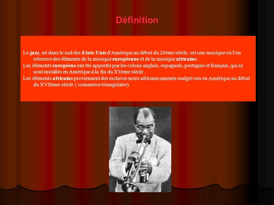 Définition Le jazz, né dans le sud des Etats-Unis d Amérique au début du 20ème siècle, est une musique où l on retrouve des éléments de la musique européenne et de la musique africaine.