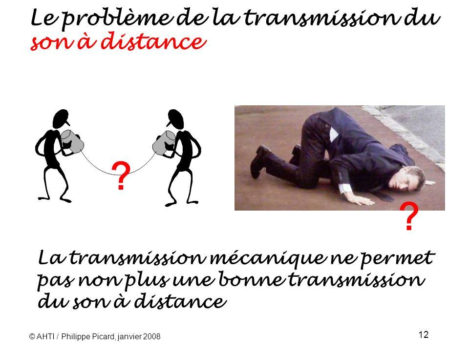 © AHTI / Philippe Picard, janvier 2008 12 La transmission mécanique ne permet pas non plus une bonne transmission du son à distance .