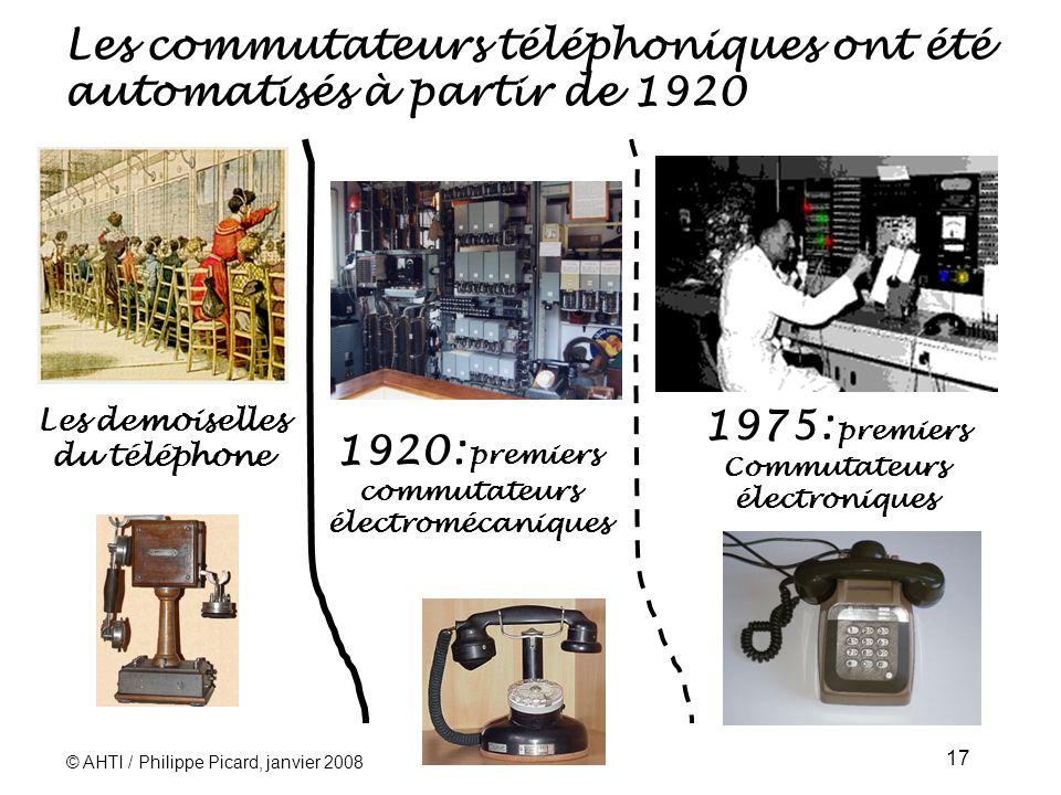 © AHTI / Philippe Picard, janvier 2008 17 Les commutateurs téléphoniques ont été automatisés à partir de 1920 1920: premiers commutateurs électromécaniques 1975: premiers Commutateurs électroniques Les demoiselles du téléphone
