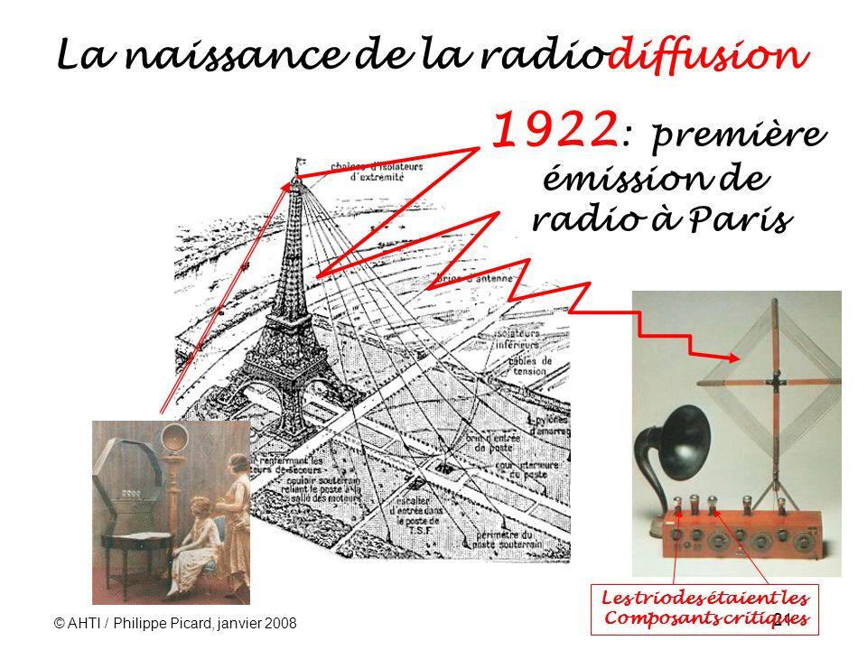 © AHTI / Philippe Picard, janvier 2008 21 La naissance de la radiodiffusion 1922 : première émission de radio à Paris Les triodes étaient les Composants critiques