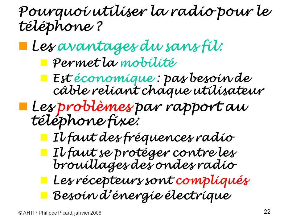 © AHTI / Philippe Picard, janvier 2008 22 Pourquoi utiliser la radio pour le téléphone .