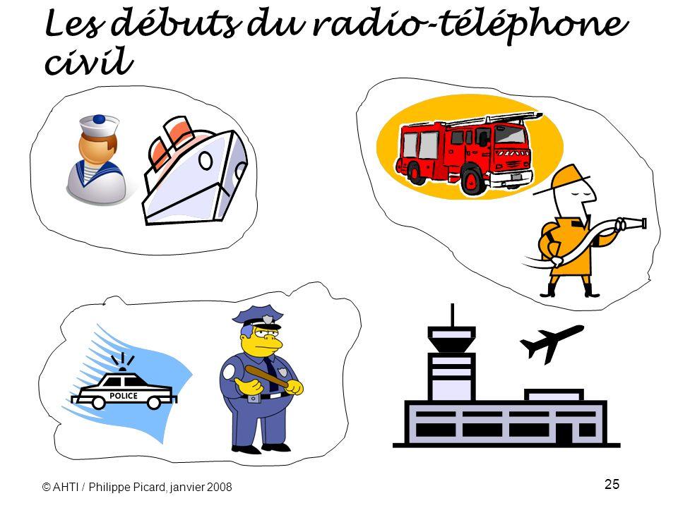 © AHTI / Philippe Picard, janvier 2008 25 Les débuts du radio-téléphone civil