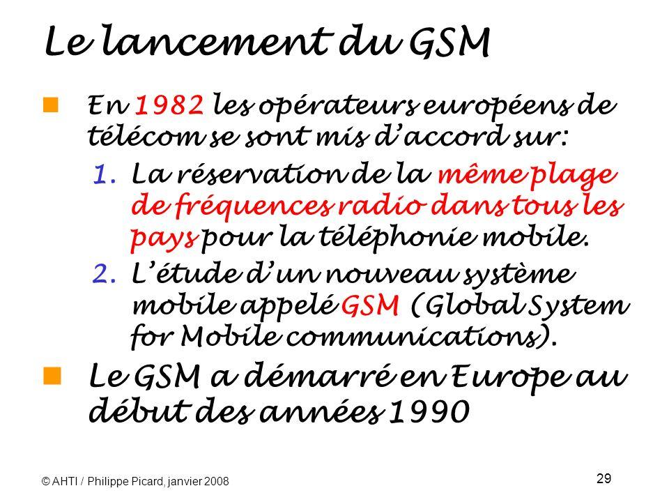 © AHTI / Philippe Picard, janvier 2008 29 Le lancement du GSM En 1982 les opérateurs européens de télécom se sont mis daccord sur: 1.La réservation de la même plage de fréquences radio dans tous les pays pour la téléphonie mobile.