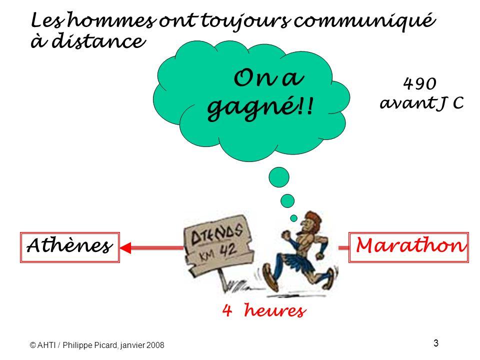 © AHTI / Philippe Picard, janvier 2008 3 Les hommes ont toujours communiqué à distance On a gagné!.