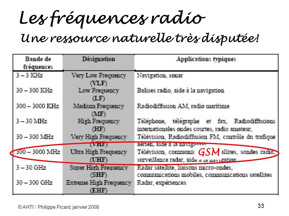 © AHTI / Philippe Picard, janvier 2008 33 Les fréquences radio GSM Une ressource naturelle très disputée!