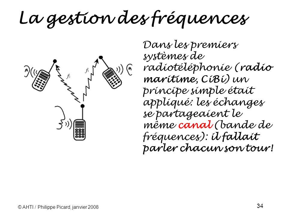 © AHTI / Philippe Picard, janvier 2008 34 La gestion des fréquences Dans les premiers systèmes de radiotéléphonie (radio maritime, CiBi) un principe simple était appliqué: les échanges se partageaient le même canal (bande de fréquences): il fallait parler chacun son tour!