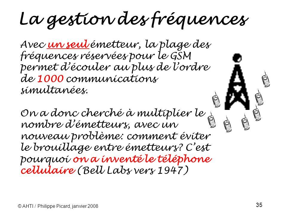 © AHTI / Philippe Picard, janvier 2008 35 La gestion des fréquences Avec un seul émetteur, la plage des fréquences réservées pour le GSM permet découler au plus de lordre de 1000 communications simultanées.