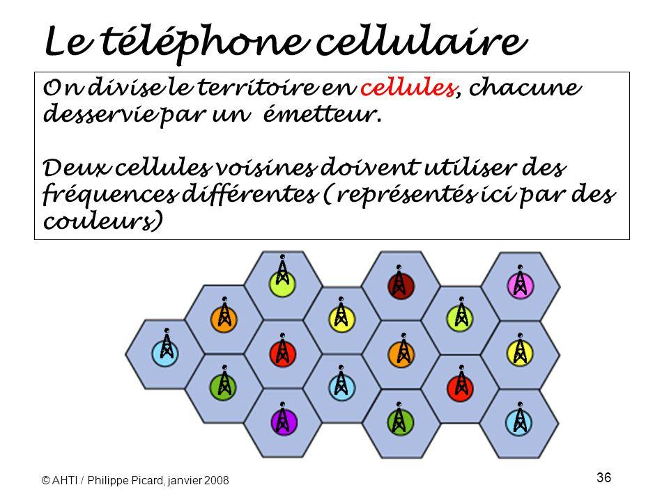 © AHTI / Philippe Picard, janvier 2008 36 Le téléphone cellulaire On divise le territoire en cellules, chacune desservie par un émetteur.