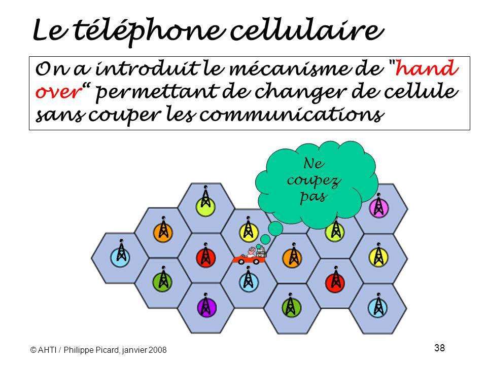 © AHTI / Philippe Picard, janvier 2008 38 Le téléphone cellulaire On a introduit le mécanisme de hand over permettant de changer de cellule sans couper les communications Ne coupez pas