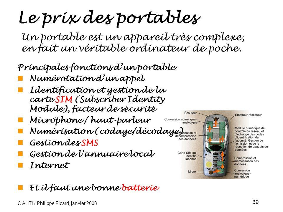 © AHTI / Philippe Picard, janvier 2008 39 Le prix des portables Un portable est un appareil très complexe, en fait un véritable ordinateur de poche.