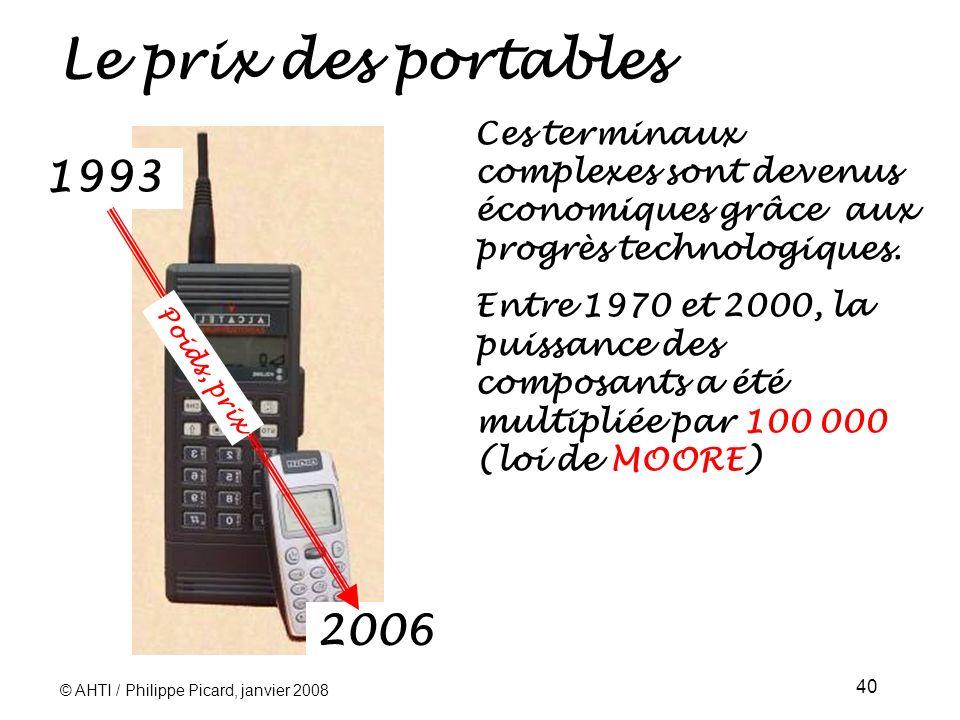 © AHTI / Philippe Picard, janvier 2008 40 Le prix des portables 1993 Ces terminaux complexes sont devenus économiques grâce aux progrès technologiques.