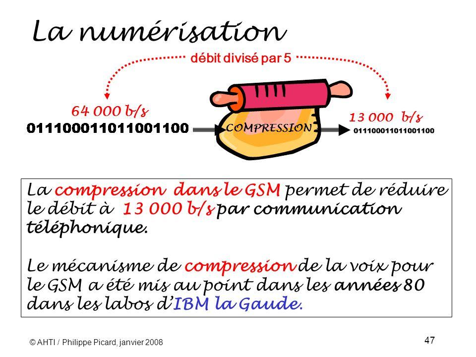 © AHTI / Philippe Picard, janvier 2008 47 La numérisation La compression dans le GSM permet de réduire le débit à 13 000 b/s par communication téléphonique.