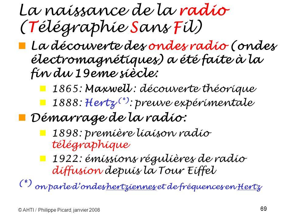 © AHTI / Philippe Picard, janvier 2008 69 La naissance de la radio (Télégraphie Sans Fil) La découverte des ondes radio (ondes électromagnétiques) a été faite à la fin du 19eme siècle: 1865: Maxwell : découverte théorique 1888: Hertz (*) : preuve expérimentale Démarrage de la radio: 1898: première liaison radio télégraphique 1922: émissions régulières de radio diffusion depuis la Tour Eiffel (*) on parle dondes hertziennes et de fréquences en Hertz
