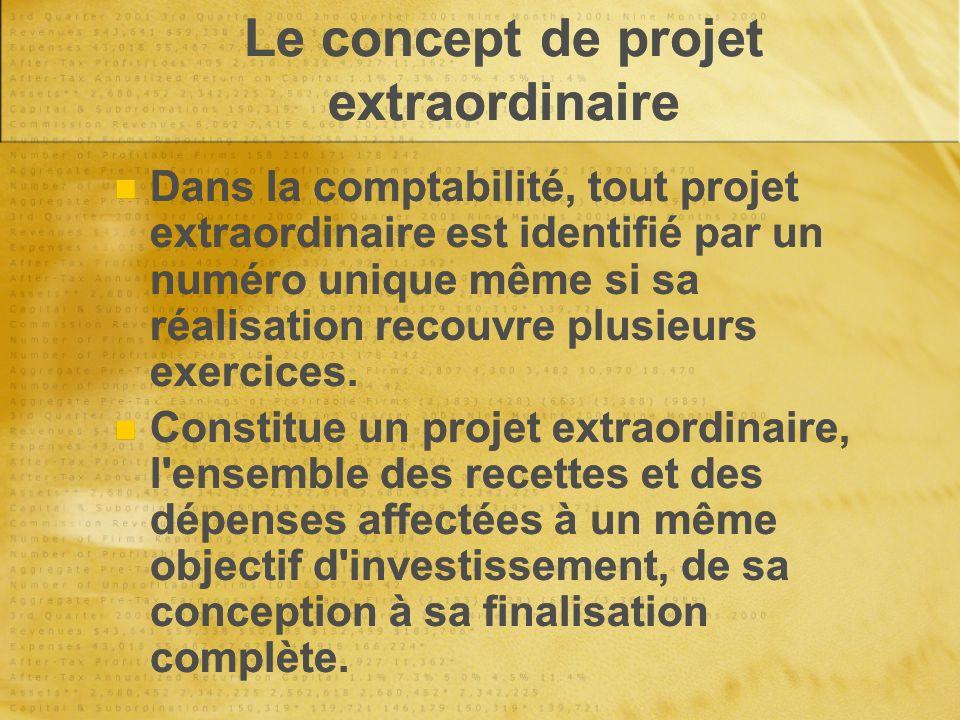 Le concept de projet extraordinaire Dans la comptabilité, tout projet extraordinaire est identifié par un numéro unique même si sa réalisation recouvre plusieurs exercices.