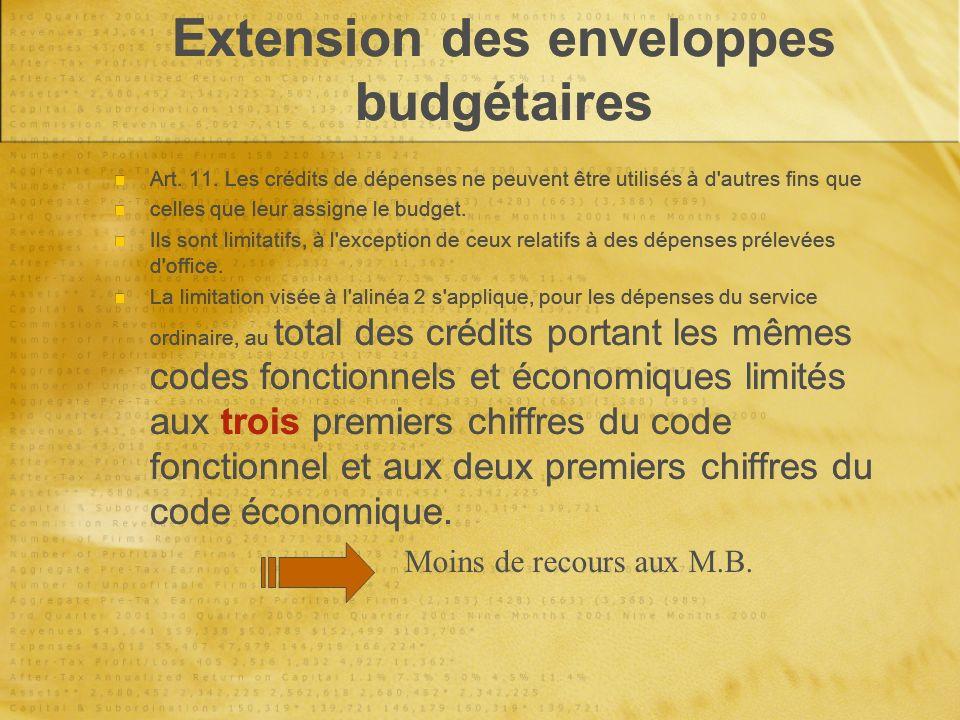 Extension des enveloppes budgétaires Art. 11.