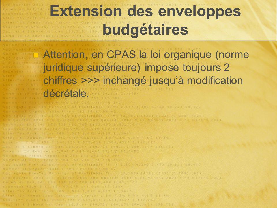 Extension des enveloppes budgétaires Attention, en CPAS la loi organique (norme juridique supérieure) impose toujours 2 chiffres >>> inchangé jusquà modification décrétale.