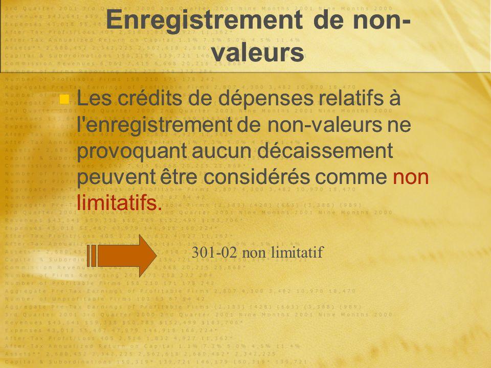 Enregistrement de non- valeurs Les crédits de dépenses relatifs à l enregistrement de non-valeurs ne provoquant aucun décaissement peuvent être considérés comme non limitatifs.