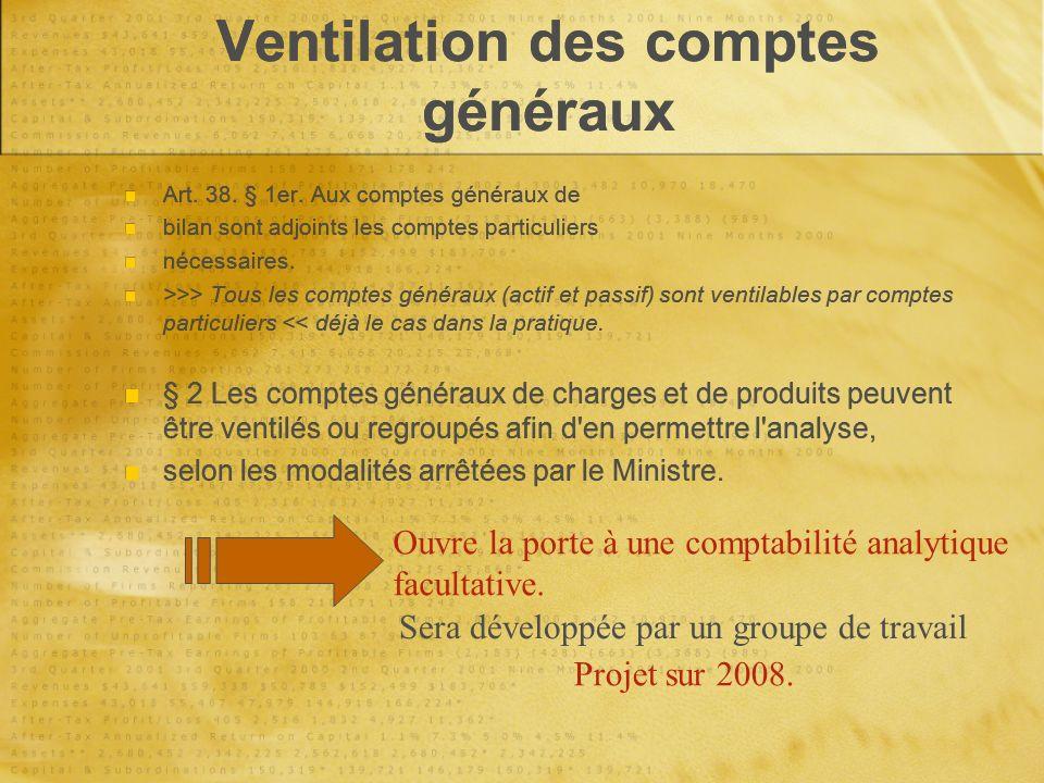 Ventilation des comptes généraux Art. 38. § 1er.