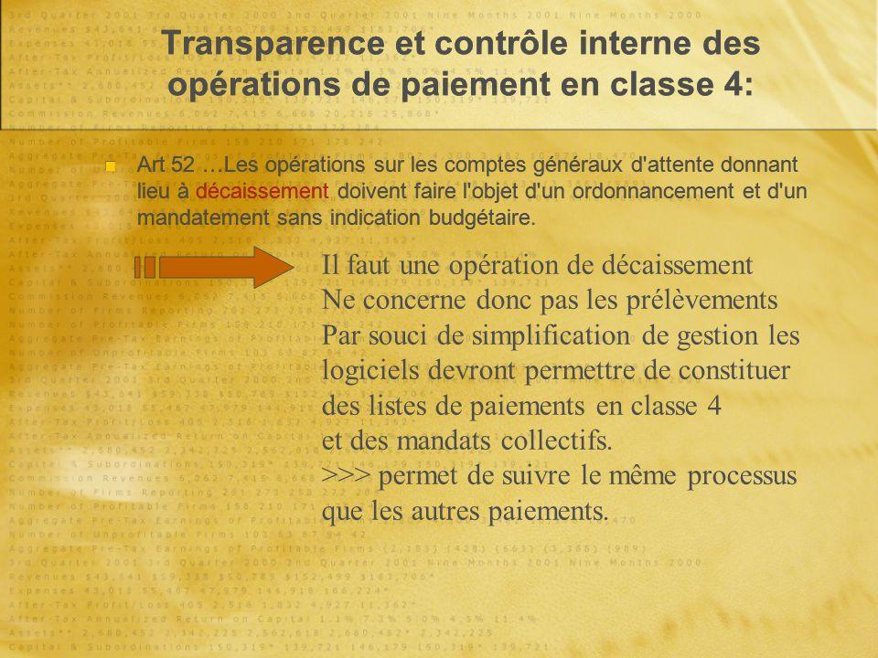 Transparence et contrôle interne des opérations de paiement en classe 4: Art 52 …Les opérations sur les comptes généraux d attente donnant lieu à décaissement doivent faire l objet d un ordonnancement et d un mandatement sans indication budgétaire.