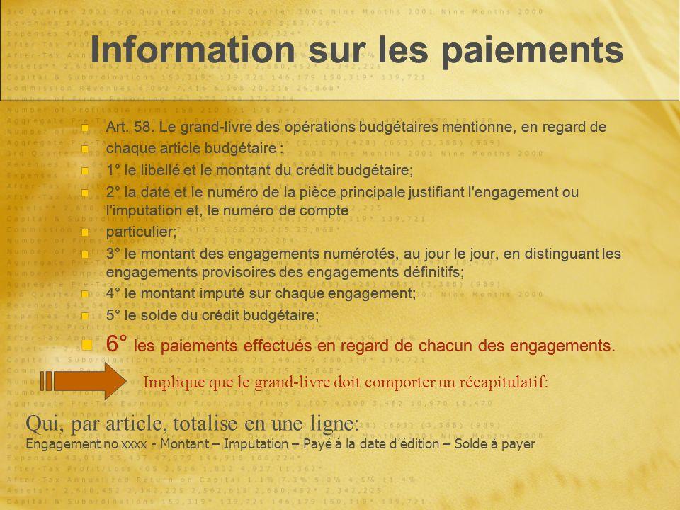Information sur les paiements Art. 58.