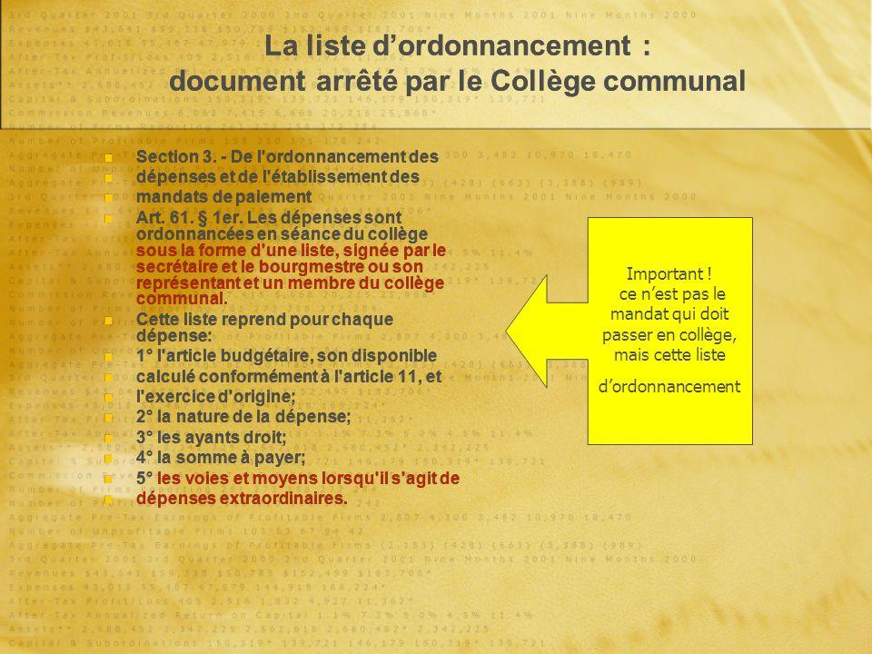 La liste dordonnancement : document arrêté par le Collège communal Section 3.
